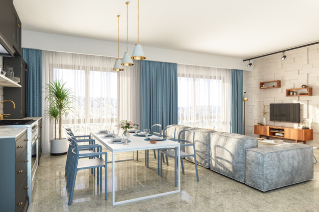 Living Room Interior with Kitchen in New Luxury Home